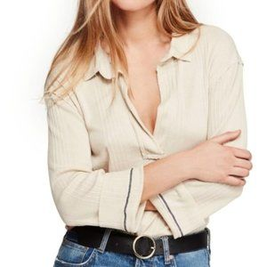 Free People Annie Ribbed Cream Top. M